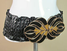 Vtg boho black wide rouched elasticated large enamelled buckled belt S/M R14175