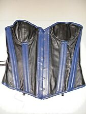 New GENUINE LEATHER Corset Blue Black Overbust Cup 32 Metal busk SEXY Unique XL?