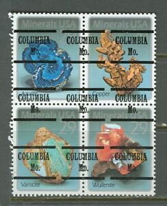 Columbia MO 222 precancel on second Minerals setenant block, Scott 2703a