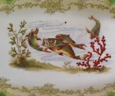 "VINTAGE LIMOGES FRANCE 23"" x 9"" HAND PAINTED FISH DINNER SERVING PLATTER PLATE"