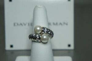 DAVID YURMAN Two Pearl Bypass Cable Collective Woman Sterling Silver Ring Size 7