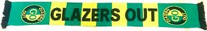 Glazers Out Scarf Green & Gold Anti Manchester United Scarf & Free Badge