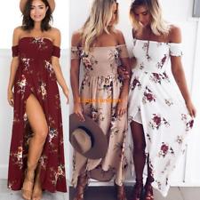 Lady Off Shoulder High Slit Floral Party Clubwear Vacation Beach Boho Maxi Dress