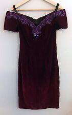 Vintage RAMPAGE Crimson Velvety Dress with Purple Glitter Lace Collar Size 7
