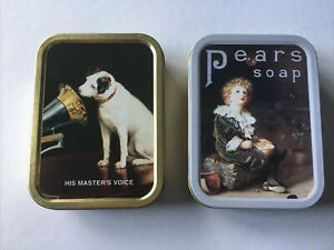 Small Tin Boxes X 2 His Masters Voice / Pears Soap 11 X 8 X 2 Cms