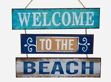 WELCOME TO THE BEACH 3 Wood Slat Plaque Sign Nautical Coastal Distressed Design