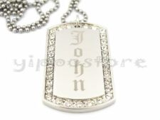 Custom Engraved Stainless Steel Personalized CZ Dog Tag Necklace Free Engraving