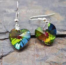 Rainbow Crystal Heart Drop Earrings - Lovely ladies / girls gift - in gift bag