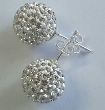 Shamballa stud earrings 12mm large white swarovski crystal bead 925 Sterling