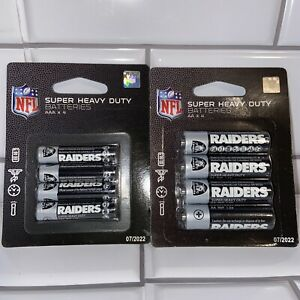 NFL 🏈 Raiders Batteries Lot (1) Pack Of 4 AA And (1)pack Of 4 AAA Batteries New