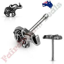 316 L Surgical Steel Nose Bone Stud Ring with Silver Elephant Top
