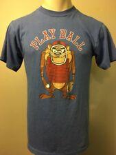 Vtg 80s Taz Baseball Shirt Mens L Looney Tunes Warner Bros Blue 50/50 Soft Thin