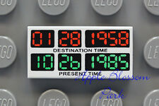 NEW Lego Time Machine TRAVEL DISPLAY GAUGE 1x2 GRAY TILE -Future DeLorean  21103