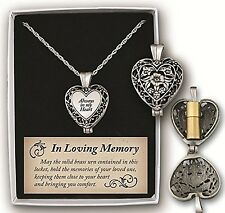 Memorial Locket Necklace Always in My Heart Loving Memory Ash Urn Holder Inside