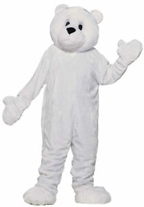 Polar Bear Plush Mascot Costume Adult Economy White Cuddly Arctic Halloween