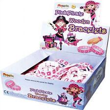 2 X PINK PIRATE BRACELETS WOODEN, GIFT, KIDS PARTY BAG FILLER ITEM