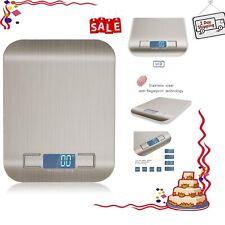 Multinational Digital Kitchen Food  Scale 11lb/5kg Silver Stainless Steel Sensor