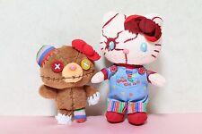 USJ Halloween Hello Kitty x Child's Play Chucky Mascot w Crash Bear Plush Badge
