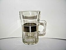 "Coffee/ Espresso Glass Mug w/ Stainless Steel Band 4 1/2"" tall Set of 4 VTG EUC"