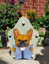Vintage Wood Magazine Newspaper Rack Shabby Chic French Bulldog Hand Painted