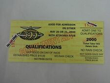 2000 Indianapolis 500 Unused Qualifications Ticket Credential Complimentary