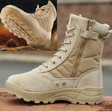 Men Outdoor Hiking Desert Shoes Army Tactical Combat Military Zipper Ankle Boots