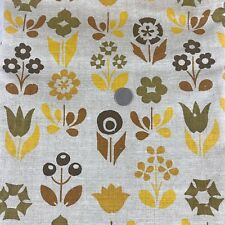 Hand printed linen mod 60/70's gold brown mod flower print heavyweight 2 7/8 yds