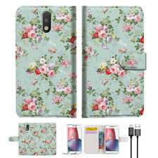 Royal Garden Phone Wallet TPU Case Cover For  Motorola Moto G4 Play-- A023
