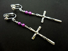 A PAIR OF TIBETAN SILVER & PURPLE BEADS CROSS CRUCIFIX  CLIP ON EARRINGS.