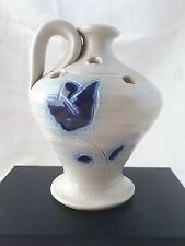 Vintage Jug Shaped Flower Frog Vase Blue Salt Glaze Design Williamsburg Pottery