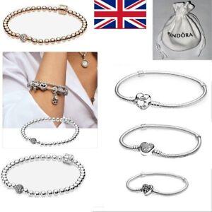 17-21CM Pandora Heart Clasp Charm Snake Bracelet S925 Sterling Silver with BagUK