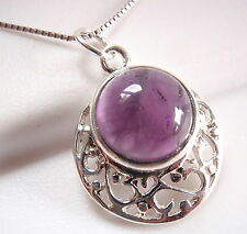 Amethyst Filigree 925 Sterling Silver Necklace Round Circle New
