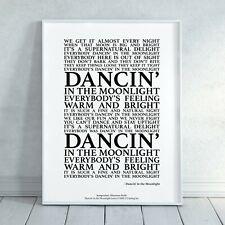 Dancin' in the Moonlight Song Lyrics Print Poster (Unframed) Art Typography
