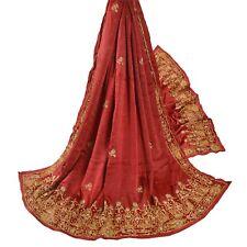 Sanskriti Vintage Brick Red Heavy Dupatta 100% Pure Satin Silk Hand Beaded Stole