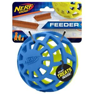 NERF Dog EXO Treat Dispensing Ball Dog Toy Blue Green