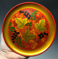 Vintage 20th C. Khokhloma Red Lacquer Gold Green Signed Plate Dish