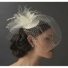 Birdcage Bridal Hat with Swarovski Crystal and Feather Ivory color