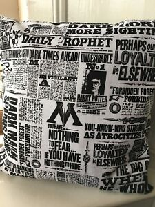 """Harry Potter 'The Daily Prophet' 12"""" Square Complete Cushion 100% Cotton Fabric"""