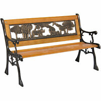 BCP Kids Mini Sized Patio Park Bench w/ Safari Animal Accents - Brown