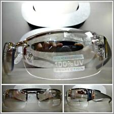 CONTEMPORARY MODERN Style SUN GLASSES Silver & Gray Frame Clear Lens Mirror Tint