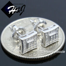 MEN WOMEN 925 STERLING SILVER 7MM LAB DIAMOND ICED SCREW BACK STUD EARRING*E134