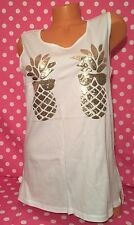 Victoria's Secret Pink Campus Pineapple Sequins Bling White Tank Top Large NWT