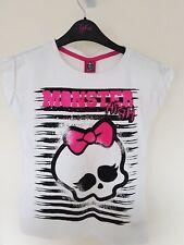 Monster High Niñas Camiseta blanca con diseño de cráneo y arco 31-32 pulgadas