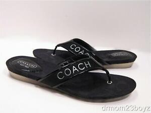 New NWOB Coach Poppy Skyler Signature Flip Flop Slides Sandals Black 6 RARE!