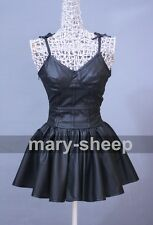 The Future Diary Gasai Yuno Mirai nikki Black PU Skirt Cosplay Costume Dress