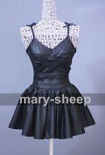 The Future Diary Gasai Yuno Mirai nikki Black PU Skirt Cosplay Costume Dress