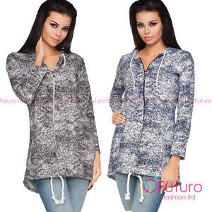 Womens Asymmetric Hoodie Zip Pockets Cardigan Jacket Sweatshirt Size 8-12 101