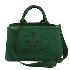 "PRADA CANAPA GREEN CANVAS TOTE BAG W/SHOULDER STRAP BN2642 50804 ""Very Good cond"