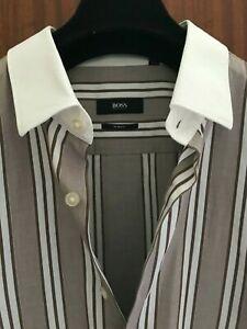 "Hugo Boss Mens Striped Shirt Collar 16.5"""