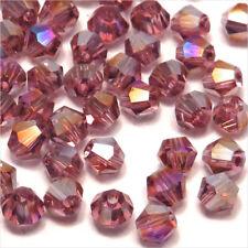 Lot de 40 Perles en Cristal Toupies 4mm Améthyste AB